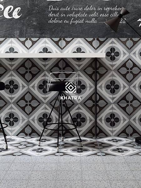 Gạch bông Porcelain phối ốp tường lát nền