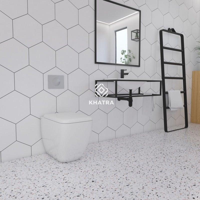 Gạch lục giác trắng ốp tường - Gạch Terrazzo trắng lát sàn