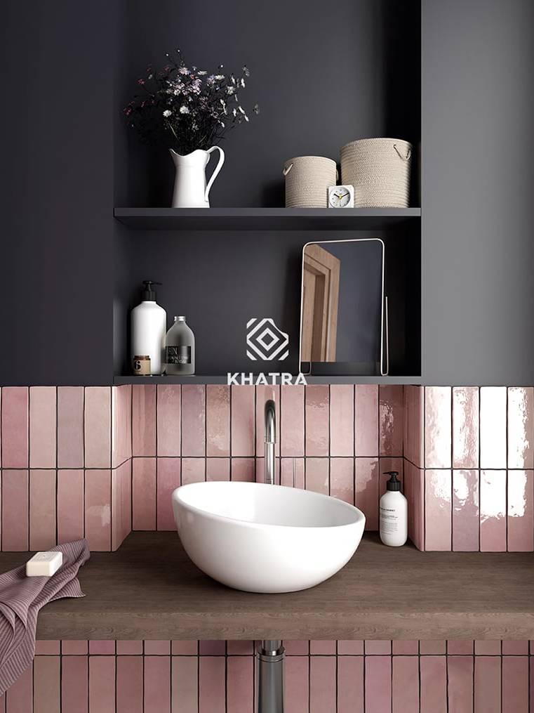 Gạch thẻ hồng ốp chân tường