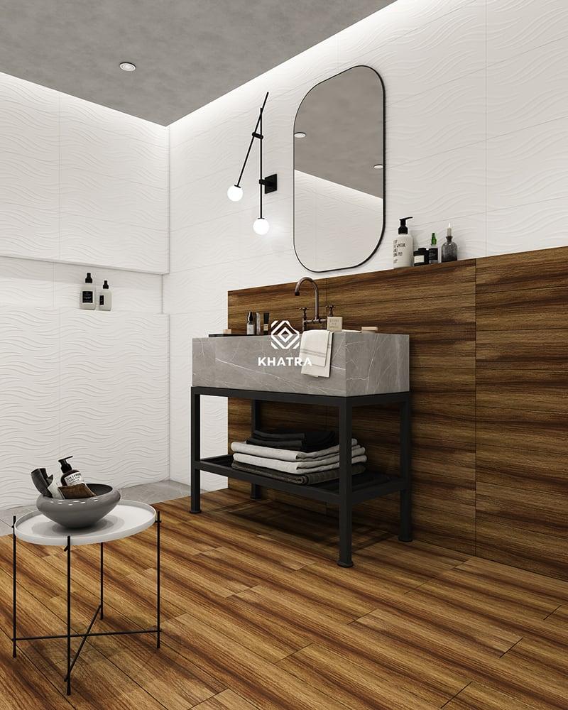 Gạch gỗ HL-1580088 phối gạch ốp tường K38001A