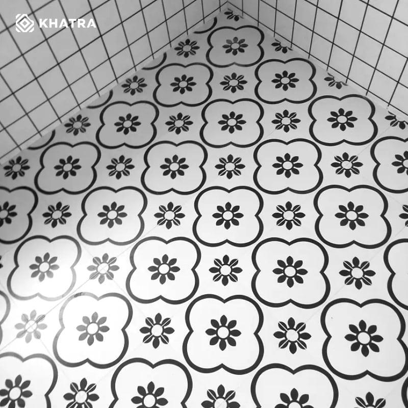 Gạch bông hoa mai lát nền nhà tắm
