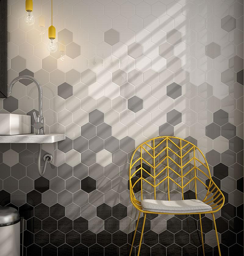 Gạch lục giác 200x230 phối màu ốp tường nhà tắm