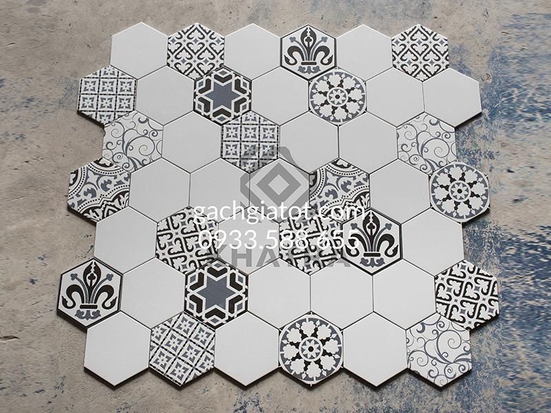Gạch lục giác N23401 phối lục giác trắng