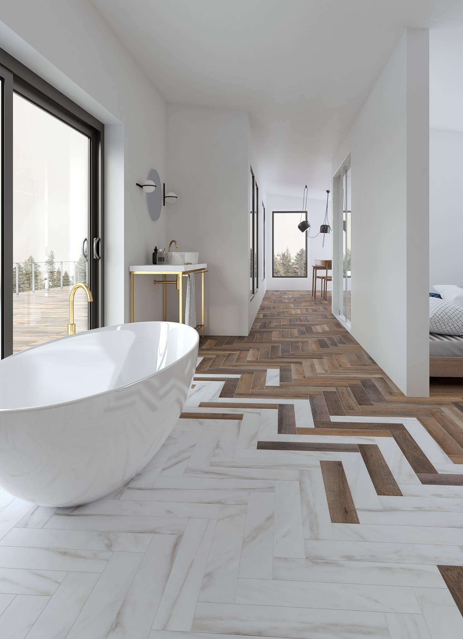 Phối gạch gỗ và gạch marble