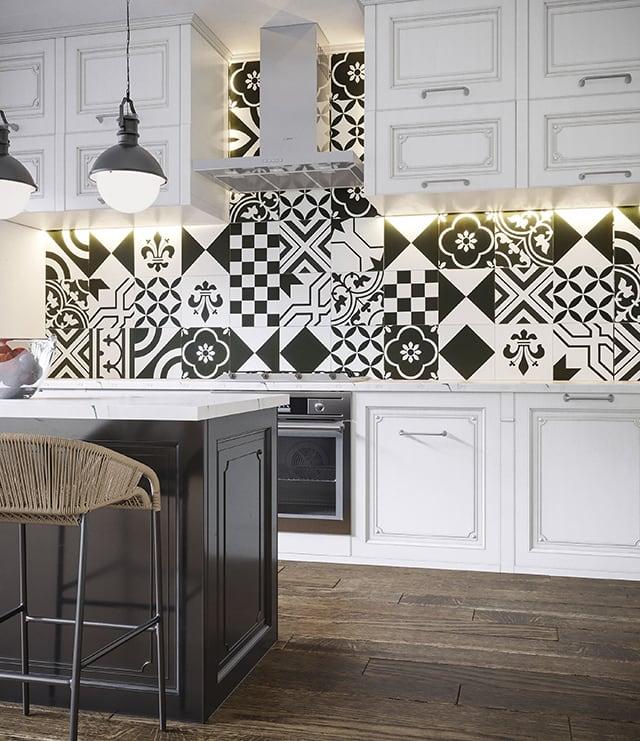 Gạch bông ốp tường bếp đẹp