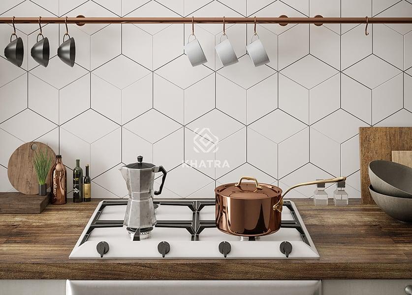 Gạch lục giác ốp bếp KHA-3D035-200x230
