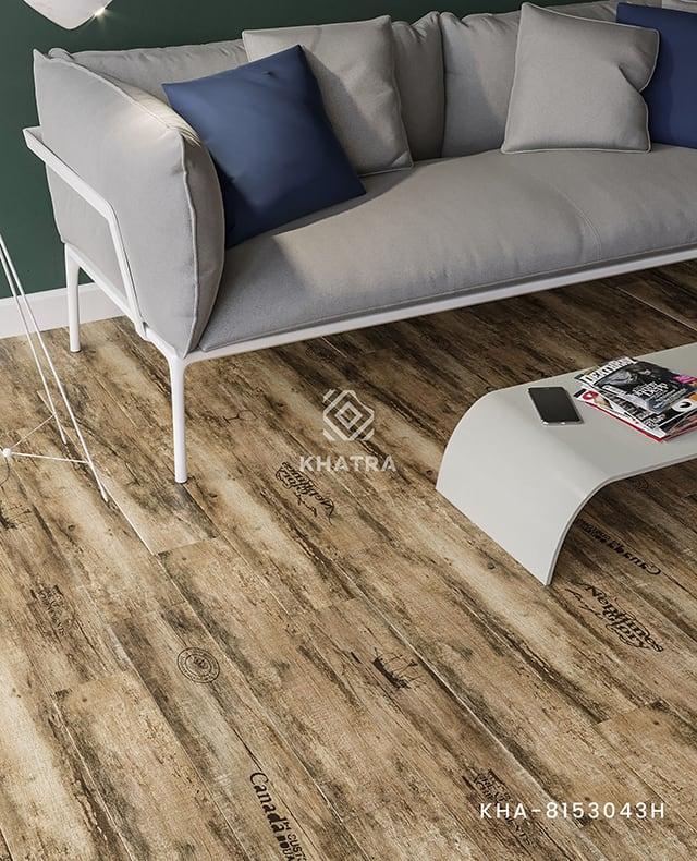 Gạch gỗ KHA-8153043H lát nền phòng khách