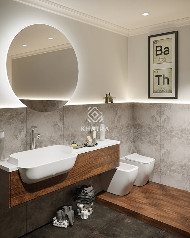 Phối cảnh gạch gỗ trang trí phòng tắm