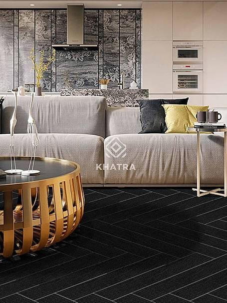 Gạch gỗ đen KHA-BY6002 lát sàn phòng khách
