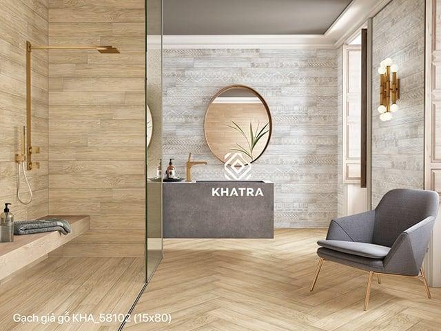 Gạch giả gỗ 15x80 KHA-58102 lát nhà tắm