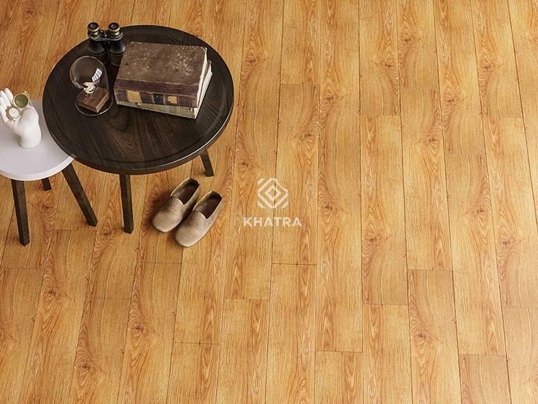 Gạch giả gỗ lát nền phòng khách KHA-T18106