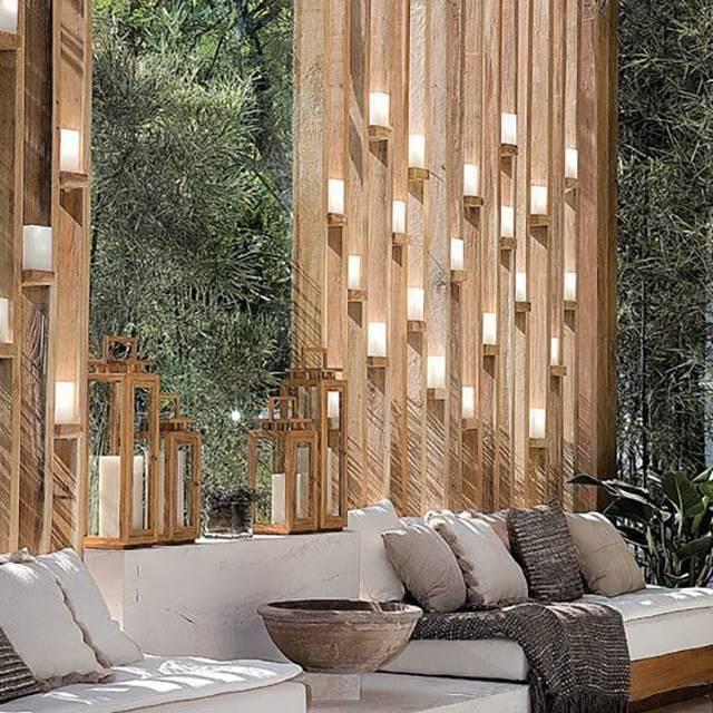 Phong cách Vertical Gardens kết hợp với gỗ