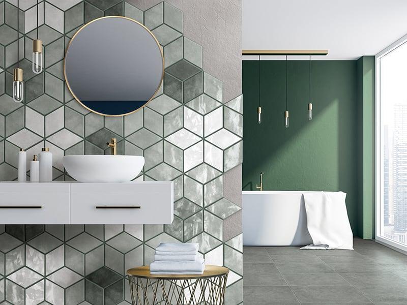 Bộ gạch granite lát nền và gạch hình thoi ốp tường tone Green