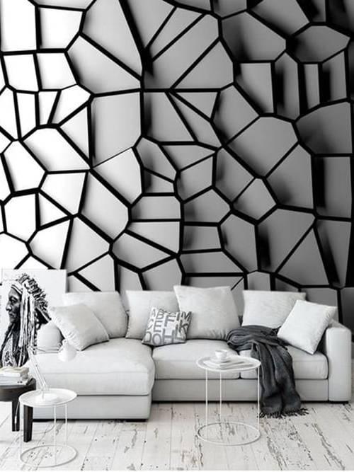 Gạch 3D ốp tường phòng khách