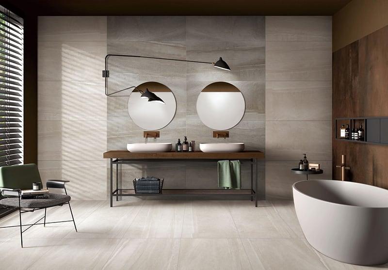 Gạch Big Slab Gentle Texture 600x1200 lát nhà tắm