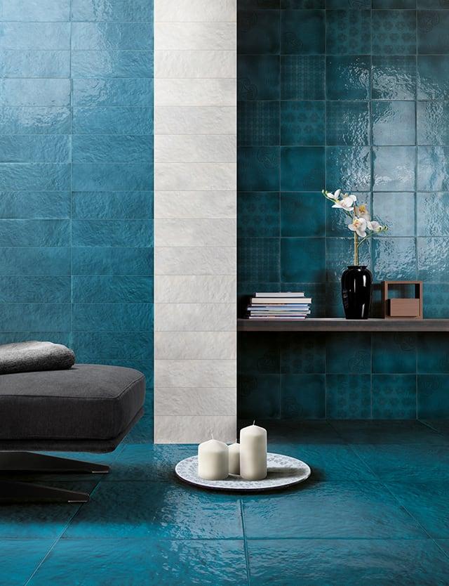 Chọn gạch lát nền phòng khách màu Blue