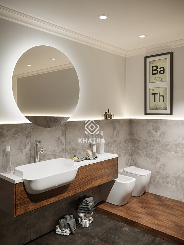 Phối gạch giả gỗ và gạch granite FN6029 lát nhà tắm