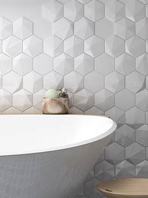 Gạch lục giác 3D ốp nhà tắm
