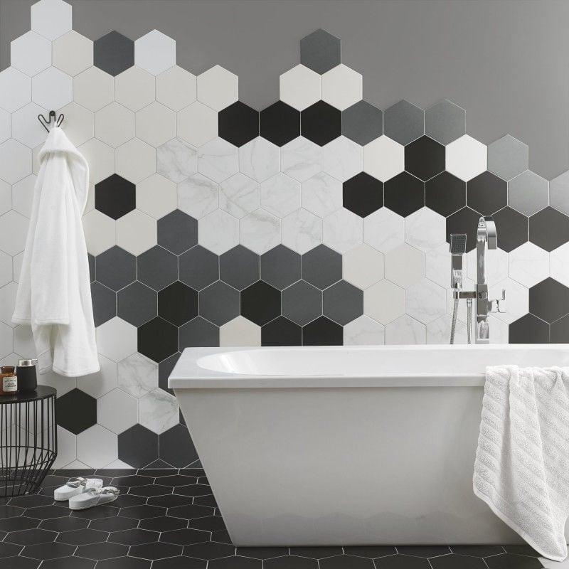 Phối cảnh gạch lục giác ốp lát nhà tắm