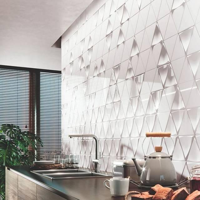 Gạch ốp bếp 3D Mosaic hình tam giác
