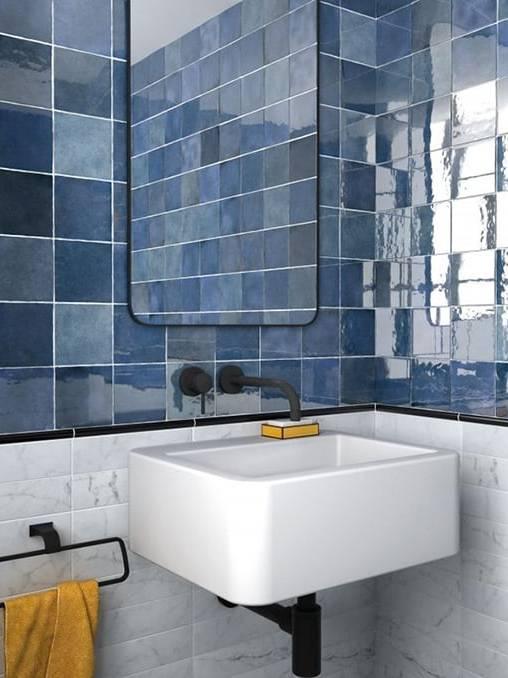Gạch thẻ vuông Classic Blue ốp phòng tắm