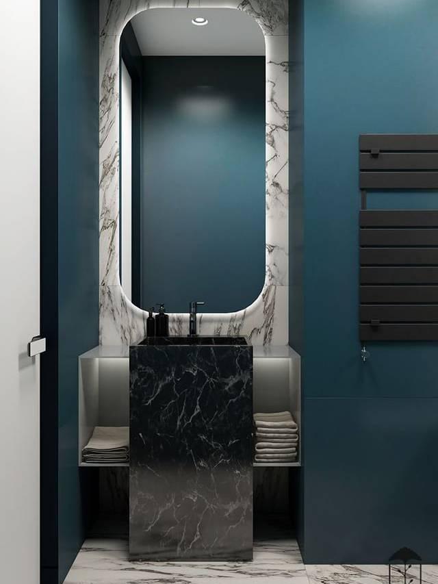 Gạch vân marble phối nội thất Prussian Blue
