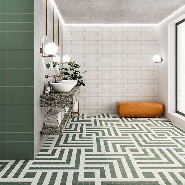 Gạch Mosaic lót nền phòng tắm
