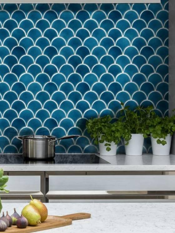 Gạch vảy cá Turkish trang trí bếp