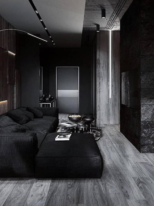 Thiết kế phòng ngủ nội thất đen kết hợp gạch gỗ đen Khatra