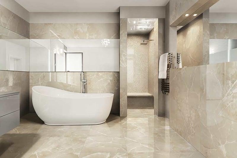 Phối gạch 30x60 và 60x60 lát nhà tắm