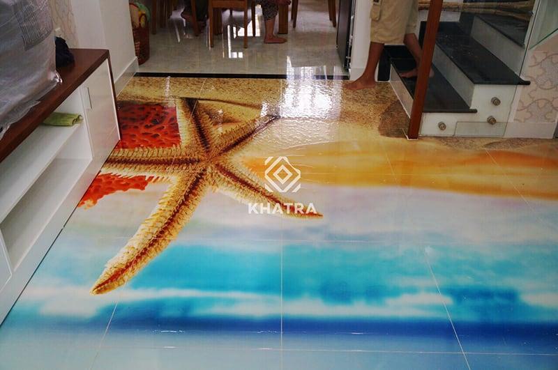 Gạch 3D lát nền hình sao biển