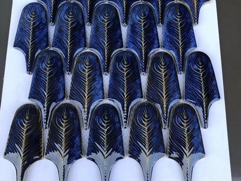 Gạch lông công 3D Navy