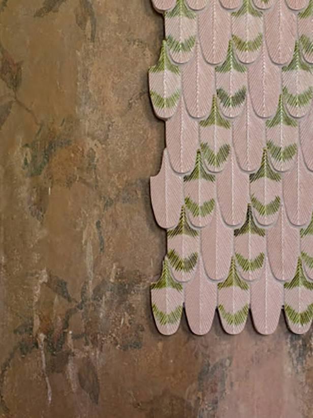 Gạch màu Crepe hình lông vũ 3D