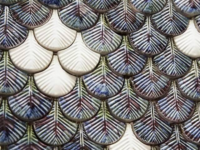 Mẫu gạch 3D Mosaic lông vũ