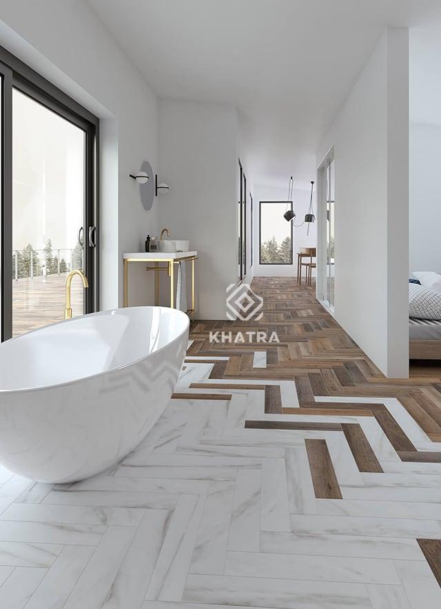 Phối gạch gỗ và gạch đá vân trắng lát phòng tắm