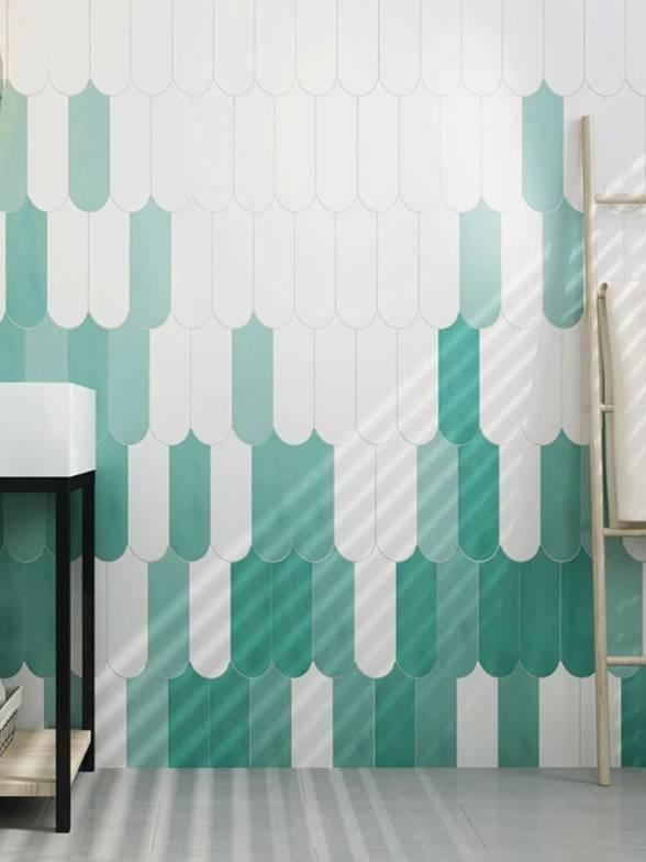 Phối màu gạch lông vũ ốp tường nhà tắm