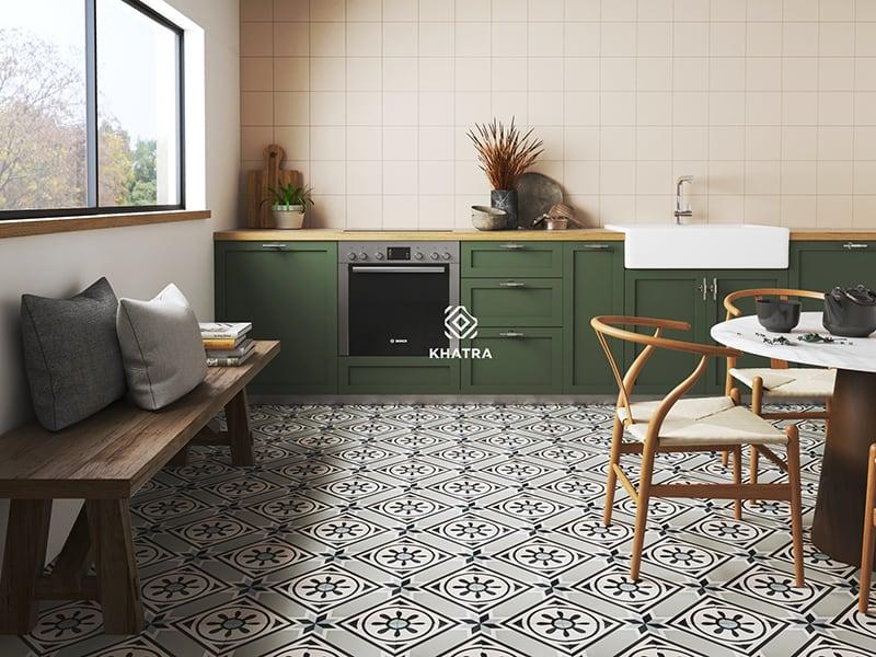Gạch bông lát nền kết hợp thẻ vuông ốp bếp