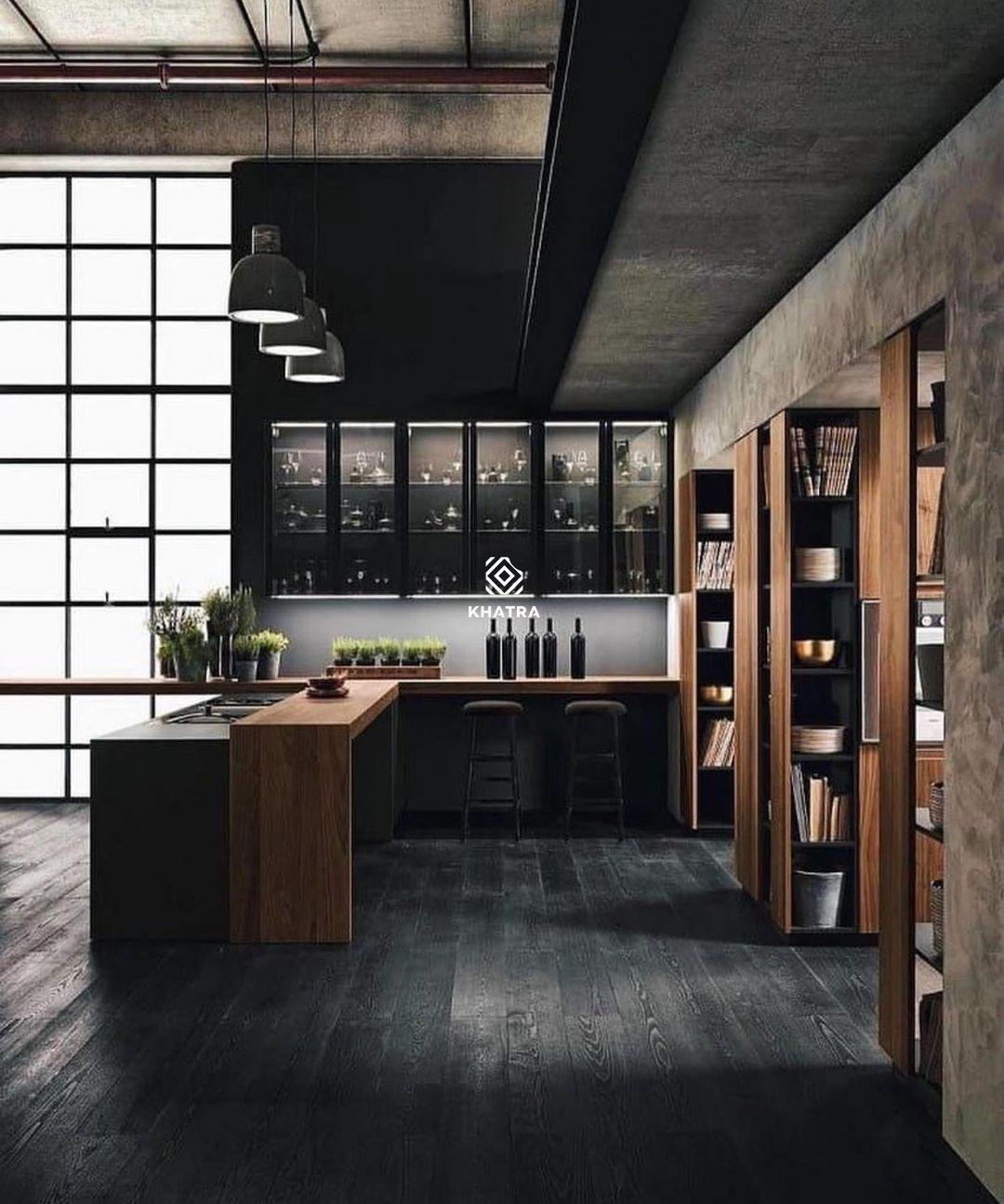 Gạch gỗ đen lát nền nhà bếp