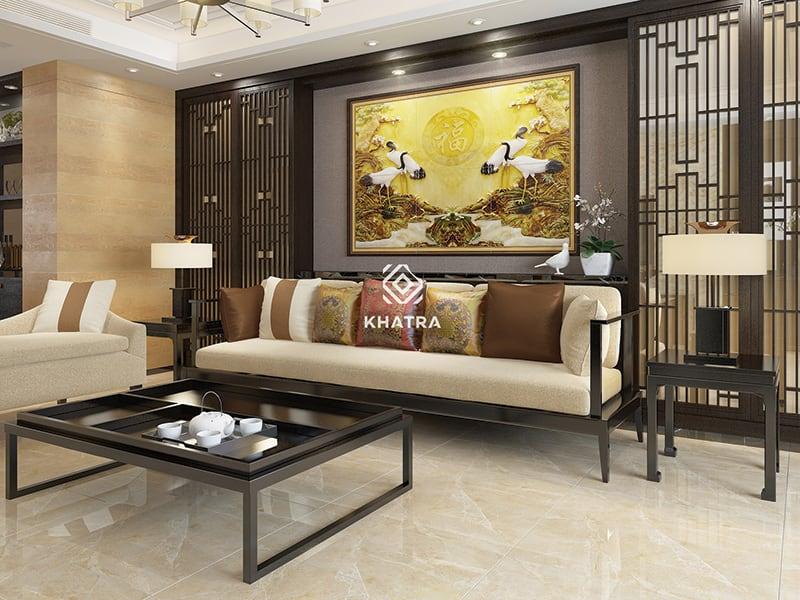 Gạch Ceramic 60x60 lát nền phòng khách