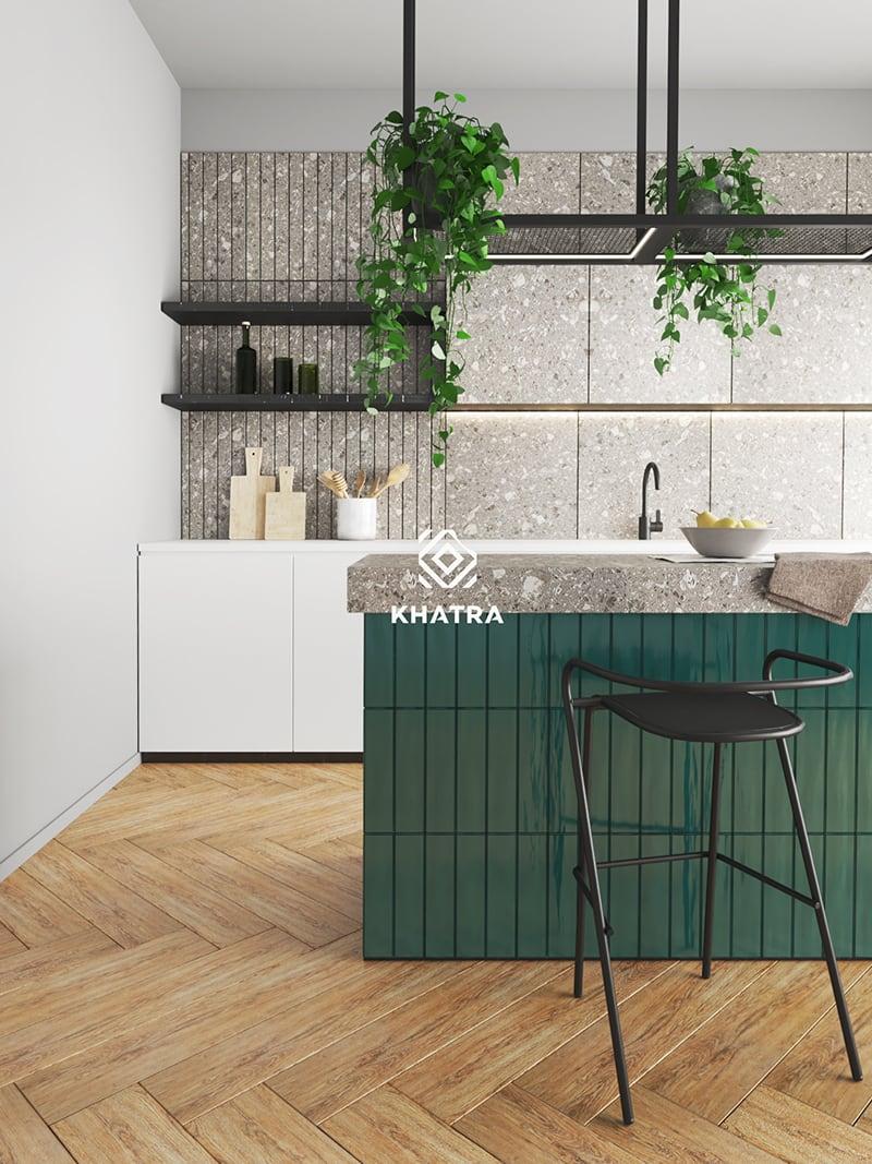 Gạch gỗ lát nền kết hợp gạch thẻ xanh và Terrazzo 600x600