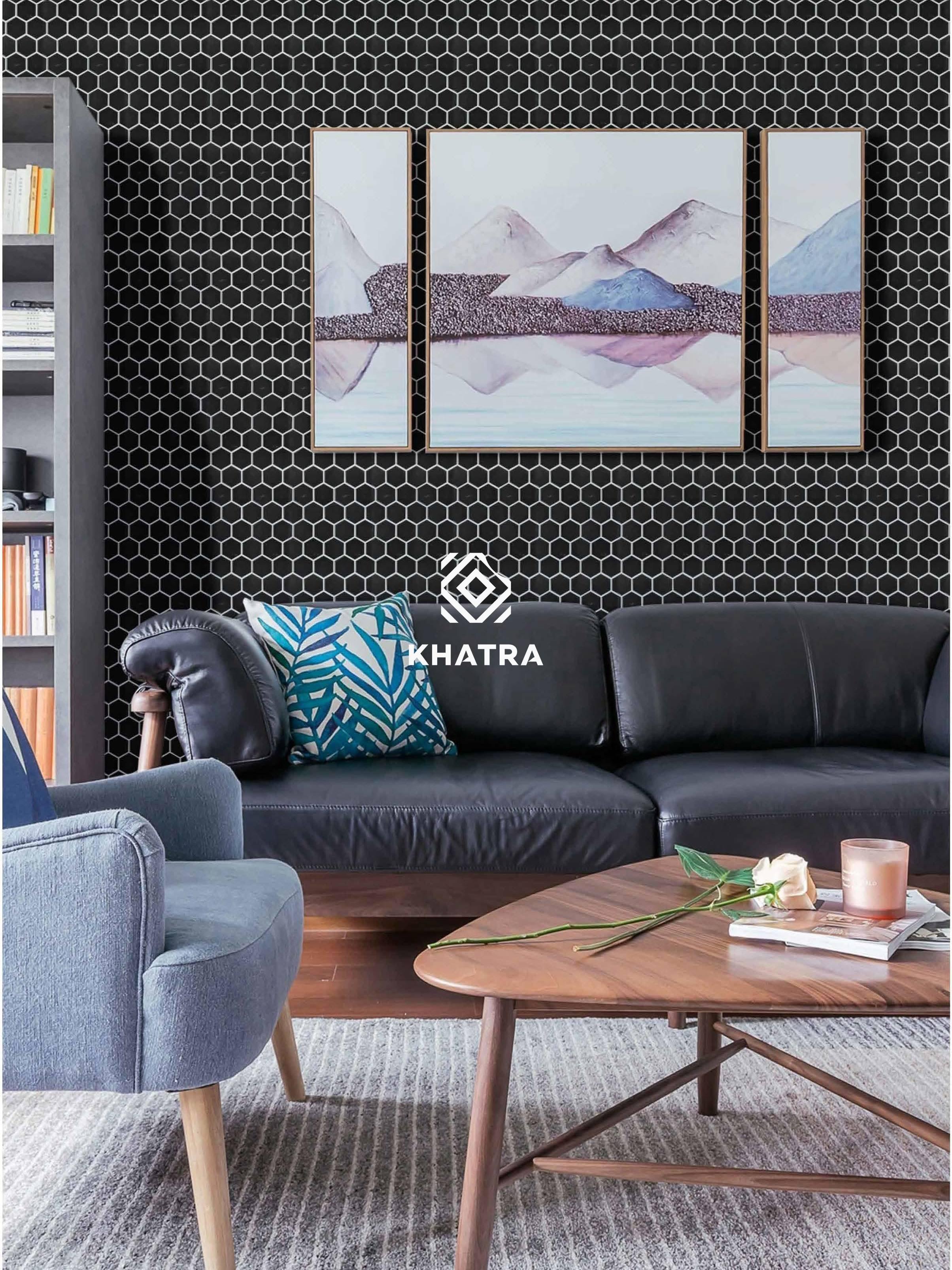 Gạch Mosaic lục giác đen ốp trang trí