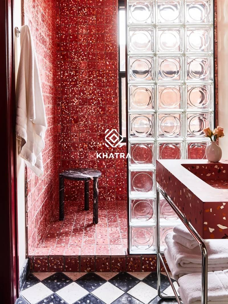 Gạch thuỷ tinh tròn ốp nhà tắm