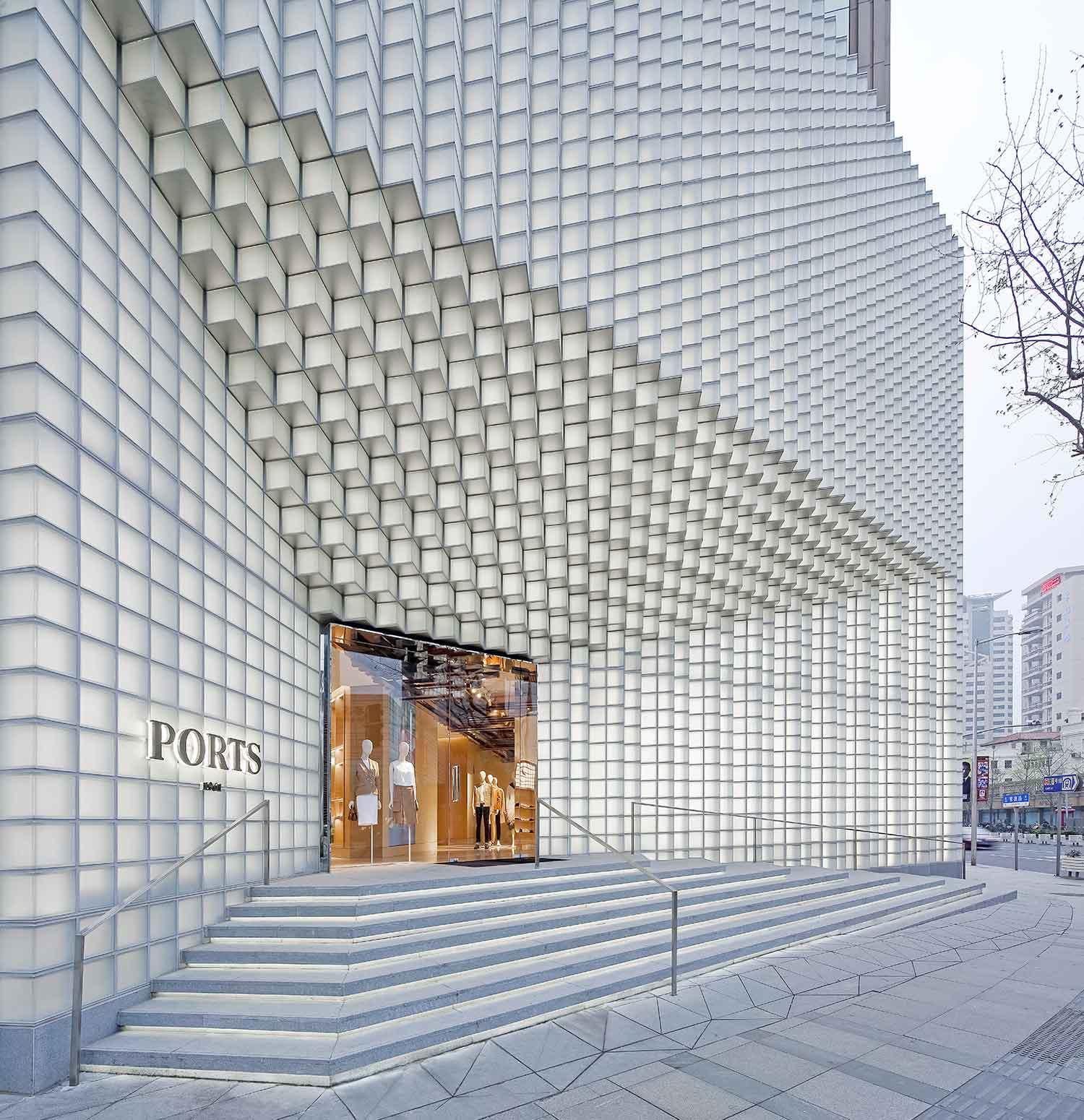 Ốp mặt tiền Trung tâm thương mại bằng gạch kính