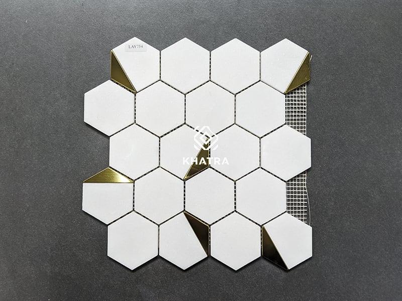 Mosaic lục giác LAY754 ốp bếp