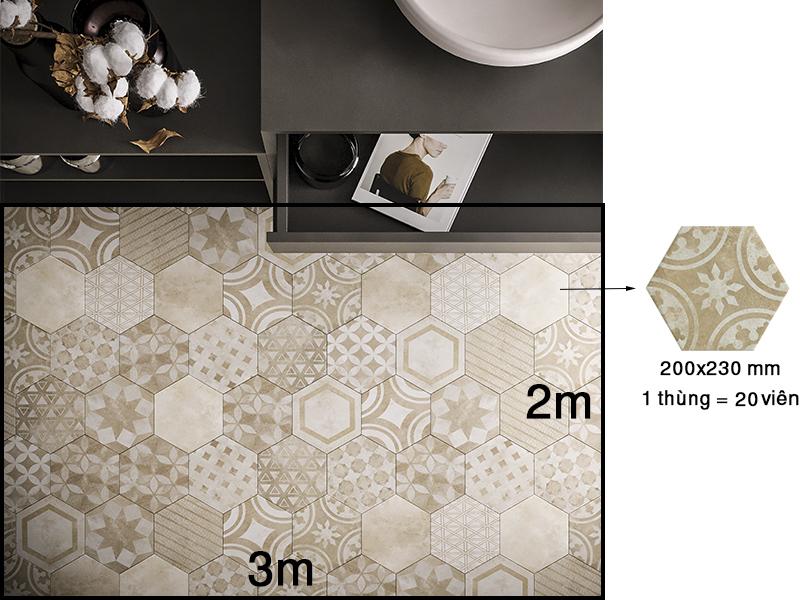 Tính mét vuông gạch lục giác lát nền