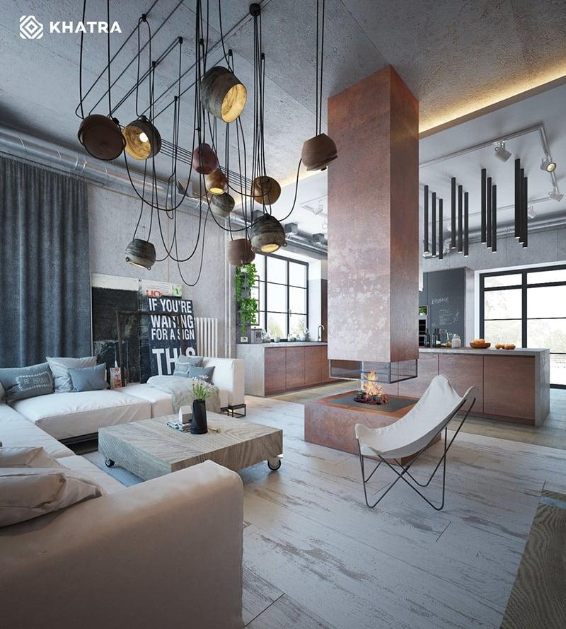 Gạch kim loại ốp nhấn quầy bar phòng khách Industrial Style