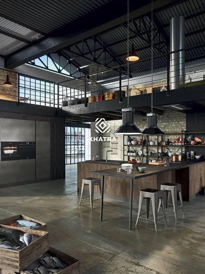 Gạch Metal lát nền phòng bếp Industrial