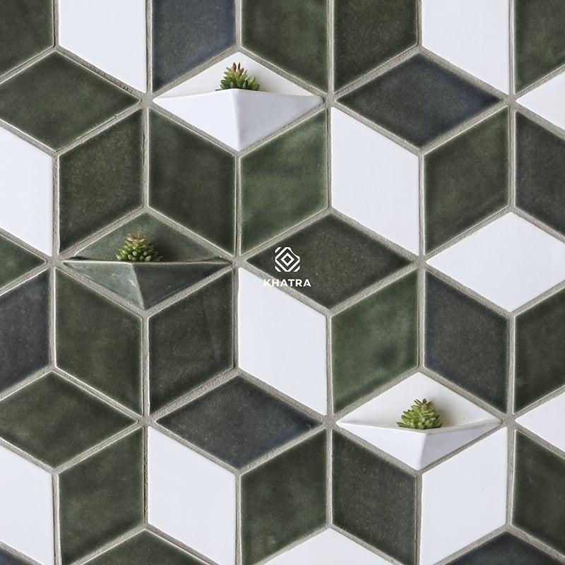 Gạch thẻ hình thoi ốp tường