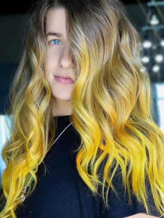 Nhuộm tóc ombre vàng xám