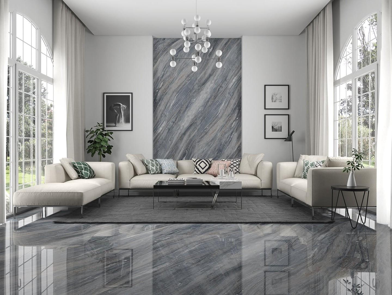 Mẫu gạch vân Marble - Palisandro lát nền phòng khách